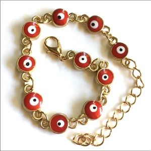 Red Evil Eye Gold Toned Bracelet